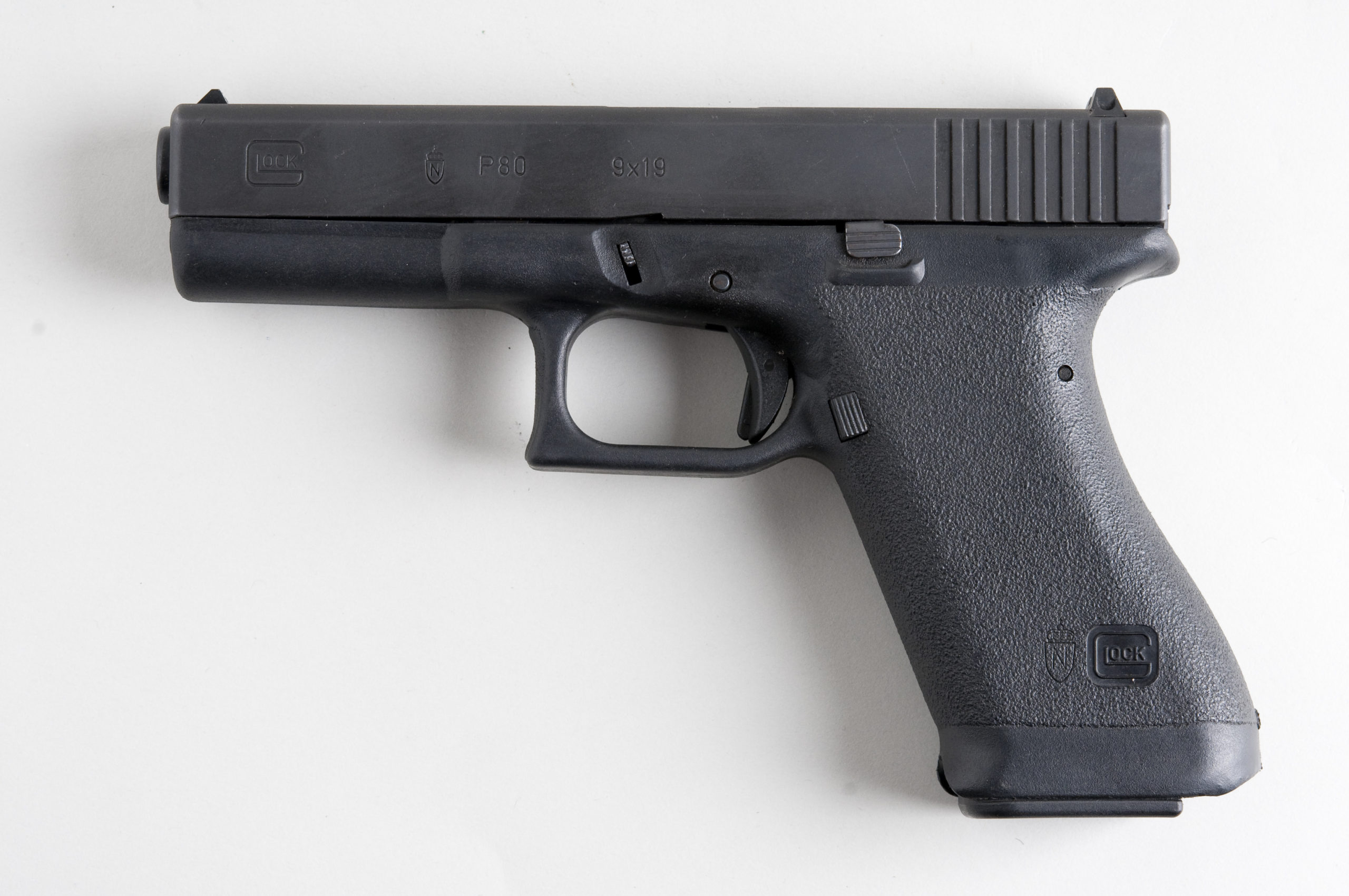 Previous generation Glocks had no finger separation on the grip, an aesthetic the gen 5 Glocks all returned to. (Wikimedia photo)