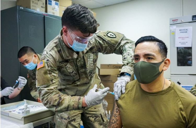 Troops getting the COVID-19 vaccine