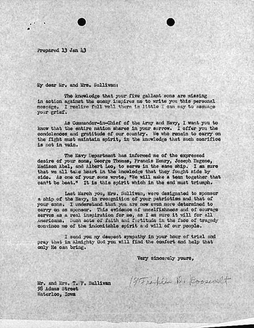 Roosevelt letter Sullivan familiy brothers