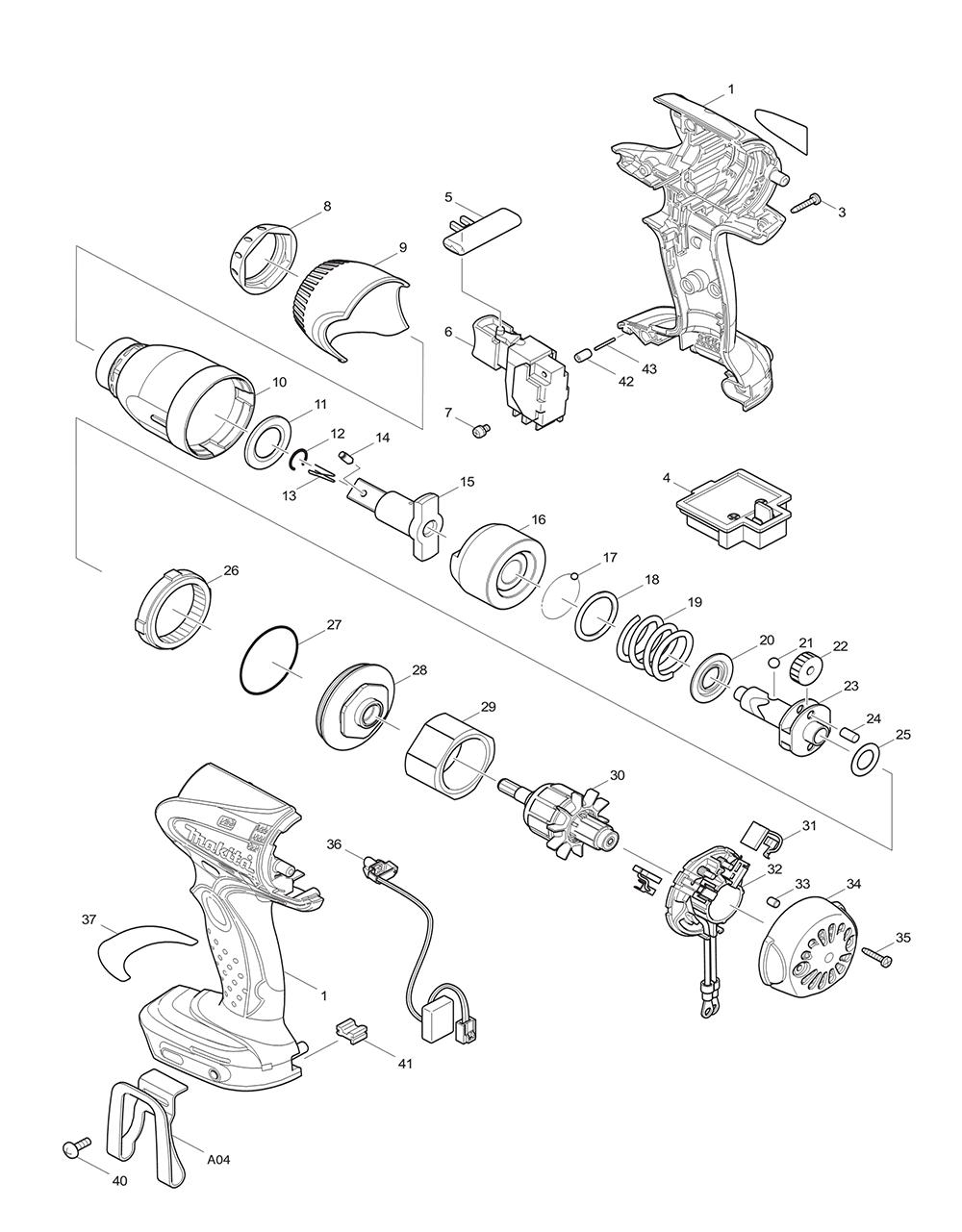 Makita hr2475 switch wiring diagram