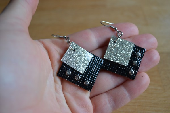 black and gold squares earrings