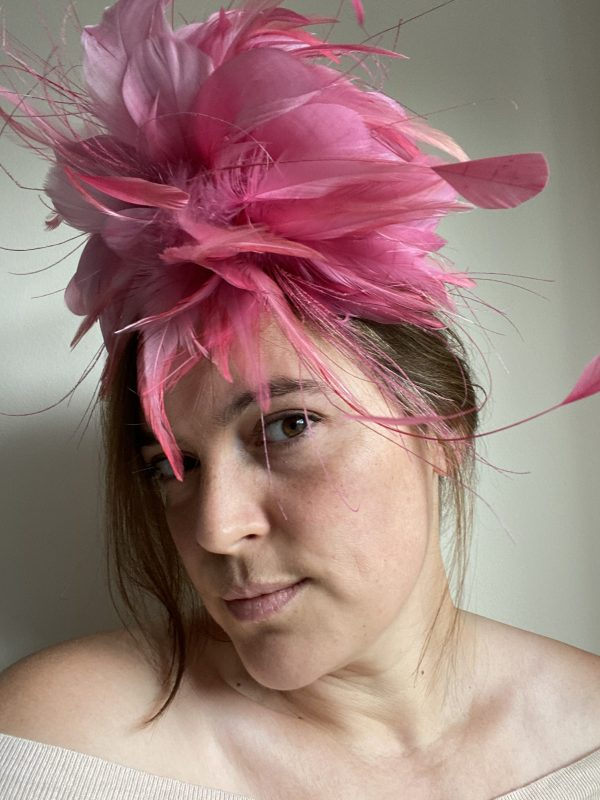 Large pink feathers fascinator