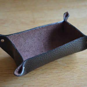 Valet tray - textured leather (suede inner)