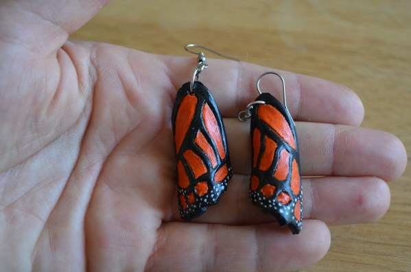 Tooled Butterfly earrings - orange and black_Monarch