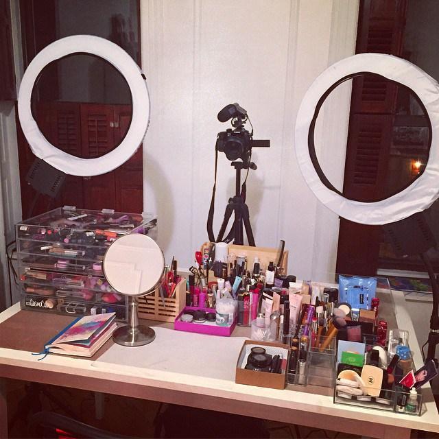 J tavolo da trucco con specchio e luci, tavolo da toeletta per ragazze e donne,. Idee Postazione Trucco Fai Da Te