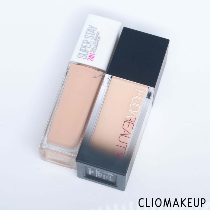 cliomakeup-recensione-dupe-huda-beauty-#faux-filter-high-coverage-cream-foundation-maybelline-superstay-24h-full-coverage-foundation—-2