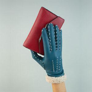 Gant bleu roi Agnelle, fabriqué en France dans le Limousin