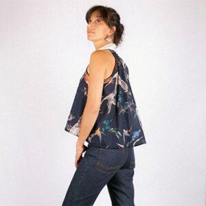 Vêtements blouse noire colorée Atelier Tiket, fabriquée en France