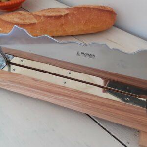 Coupe-pain bois et inox Au Nain Couteliers, fabriqué en France en Auvergne-Rhône-Alpes