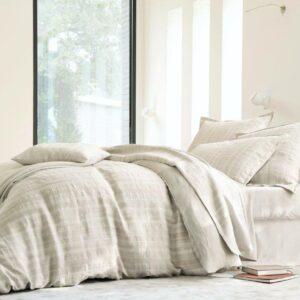 Draps de lit beiges Blancs des Vosges, fabriqués en France dans les Vosges