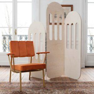 Paravent design en bois Blomkål, fabriqué en France en Nouvelle-Aquitaine