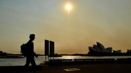 Smoke from bushfires in New South Wales have blanketed the city's CBD. Picture: AAP