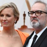 No nerves at all for 1917 director Sam Mendes as he walks the red carpet with his wife, Alison Balsom. Picture: AFP