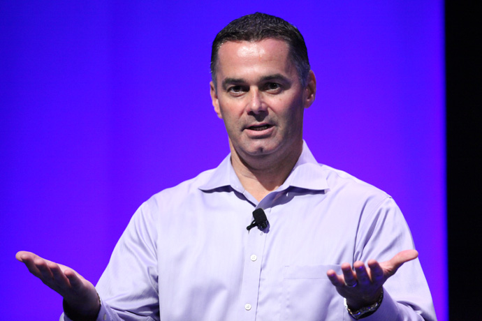Dan McNamara, corporate vice president and general manager of Intel's Programmable Solutions Group, addresses the audience at the inaugural Intel SoC FPGA Developer Forum in San Francisco on Thursday, Aug. 18, 2016. (Credit: Intel Corporation)