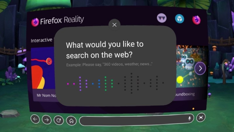 Firefox Reality voice search