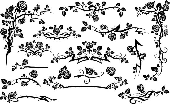 Black Seamless Rose Floral Pattern Free Vector
