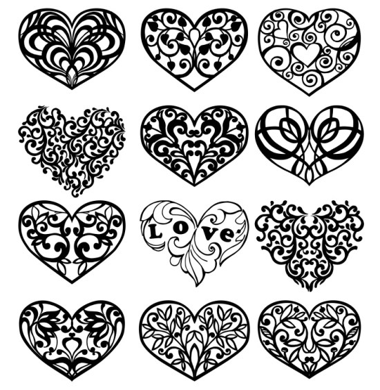 Decorative Heart Vector Art Set Free Vector