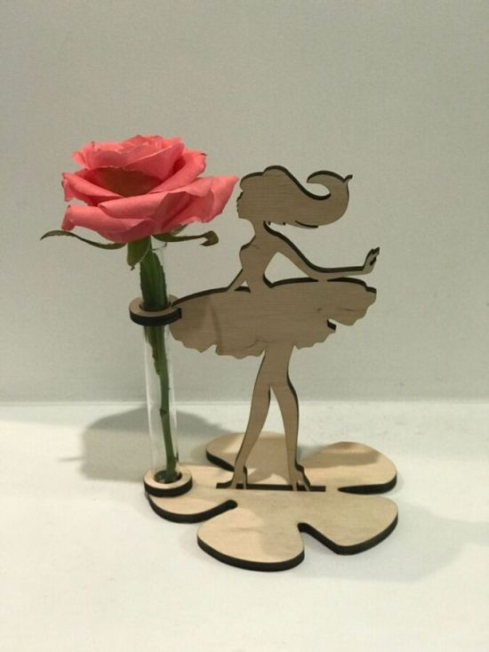 Laser Cut Girl with Flower Test Tube Vase Stand Free Vector