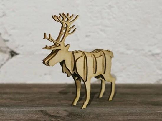 Laser Cut Wooden 3D Northern Reindeer Free Vector