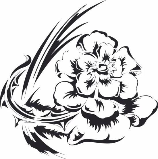 Flowers Vector illustration Tattoo Design Free Vector