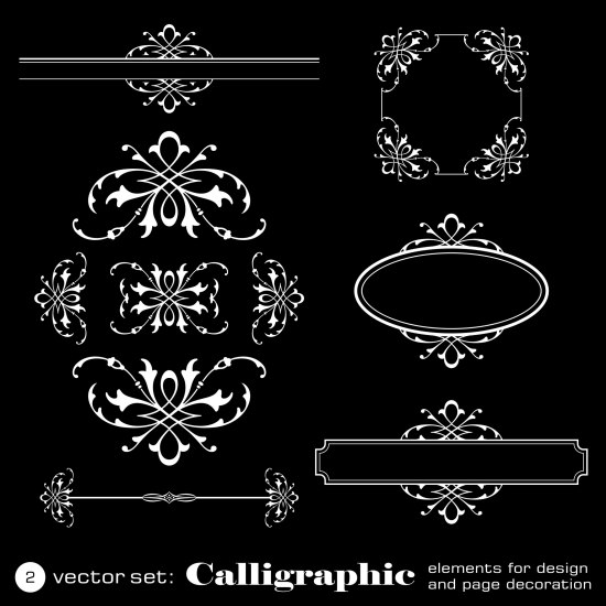 Calligraphic Elements For Design On Black Background Free Vector