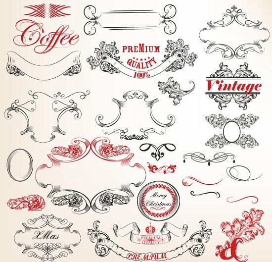 Vintage Ornament Vector Set Free Vector