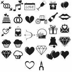 Love Icons vector set Free Vector