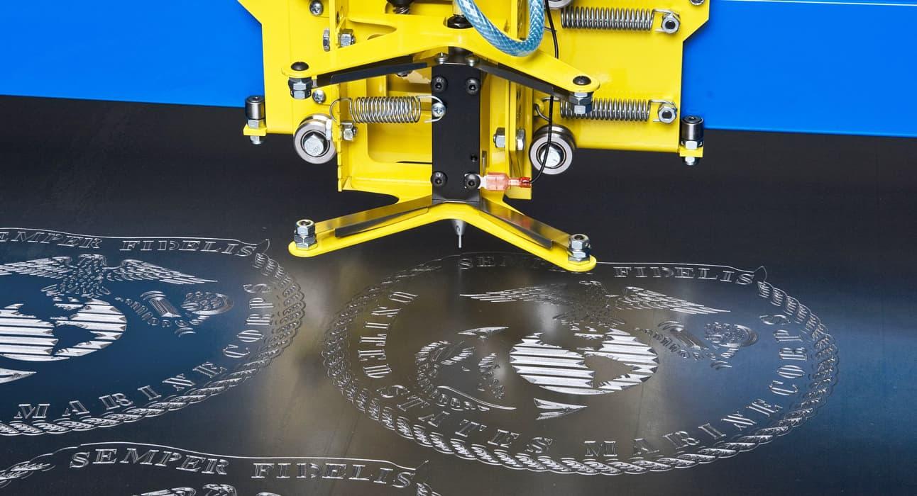 CNC Plasma Cutters PlasmaCam engraving on metal sheet