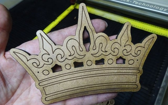 "custom-crown-king-x7 Custom Wooden Royal Crowns: 1/4"" (6 mm) Scrap MDF Design 0160 - 0161"