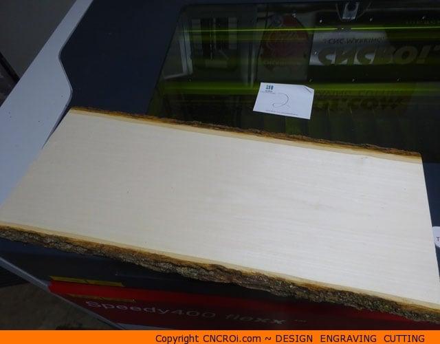 Custom live edge wood plank cnc laser engraving extreme for Finishing live edge wood