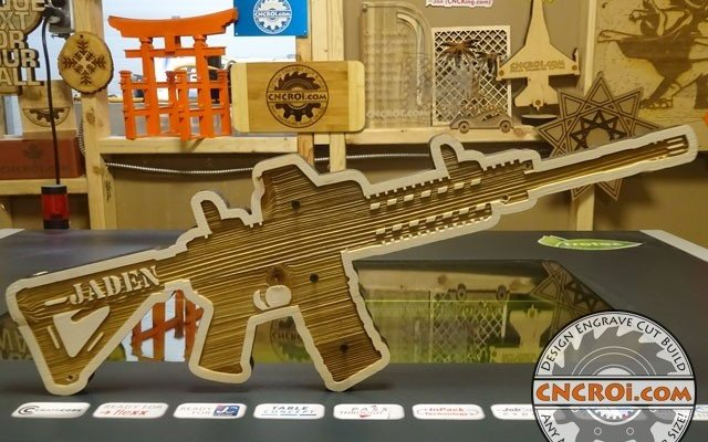 m4-gun-key-holder-x7 M4 Carbine Gun Key Holder: CNC Laser + Pine