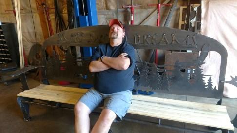 large steel bench custom 2