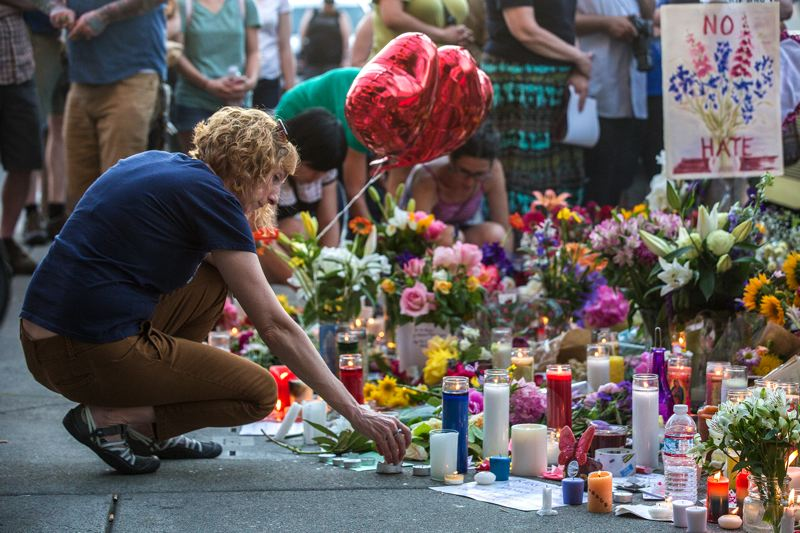 Image result for photos of the portland vigil honoring stabbing victims