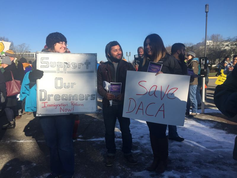 PAMPLIN MEDIA GROUP: JOSH KULLA - Reynolds School District teachers rally to show support for their students who feel threatened by President Donald Trumps' stance on undocumented immigrants.