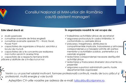 Consiliul Național al IMM-urilor din România caută asistent manager!