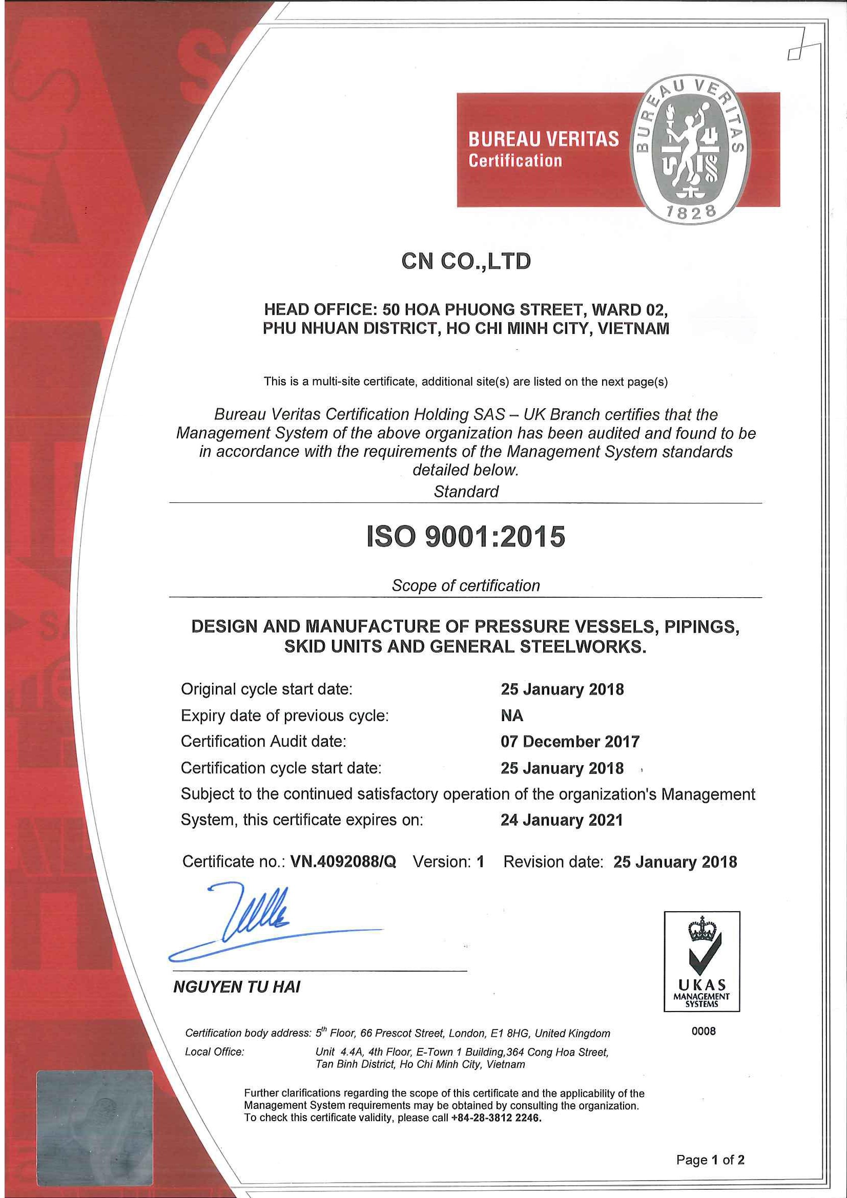 Cni Successfully Obtaining Iso 90012015 Certification Cni Cn