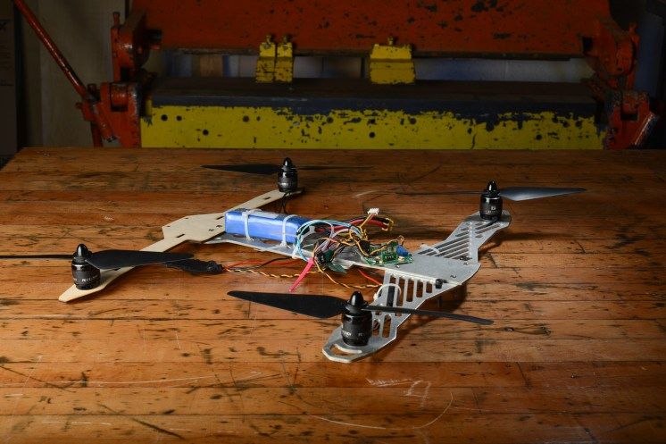 A quadcopter drone built in the Makerspace lab by student employee Odaro Ehiman.