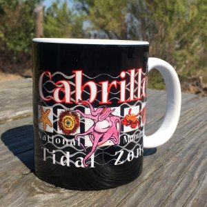 A black ceramic mug with drawings of tidepool critters on a black background. Cabrillo is at the top of the mug and tidal zone is at the bottom. The mug sits on a wall.