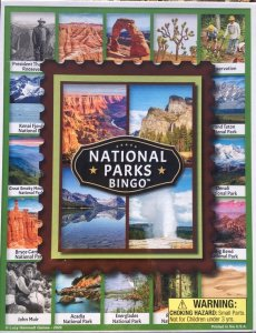 Bingo game box with National Park photos on cover