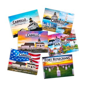 Collage of rectangle magnets showing various view at Cabrillo National Monument