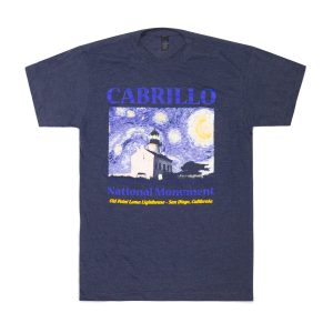 Dark blue t-shirt with drawing of Old Point Loma Lighthouse