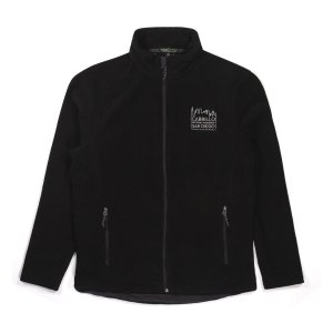 Black fleece zippered sweatshirt with Cabrillo National Monument San Diego embroidered in white on front.