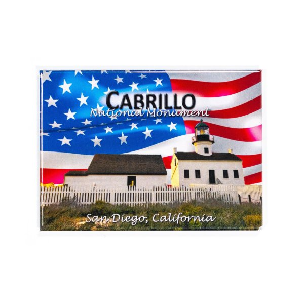 Rectangle magnet with an illustration of the Old Point Loma Lighthouse with American Flag as the background.