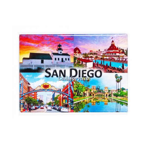 Rectangle magnet with 4 illustrations of San Diego. Upper left is Point Loma Lighthouse, Upper right is Hotel Del Coronado, Lower right is Reflection pond at Balboa Park, and Lower left is the Gaslamp Quarters.