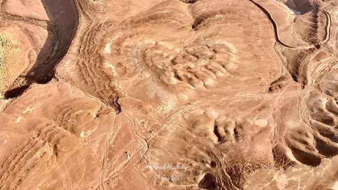 A photographer documents a natural heart-shaped summit from the air in Saudi Arabia... Can you see it?