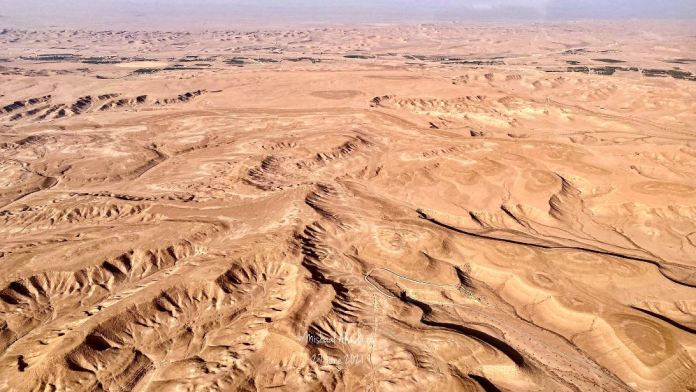 A photographer documents a natural heart-shaped summit from the air in Saudi Arabia.. Can you see it?