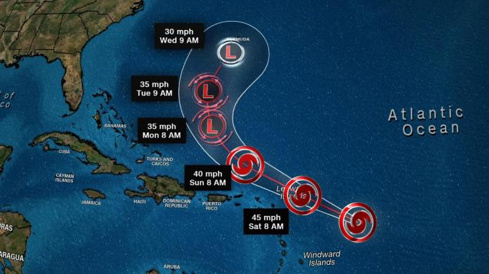 Storm Josephine advances and potential cyclone in the Carolinas