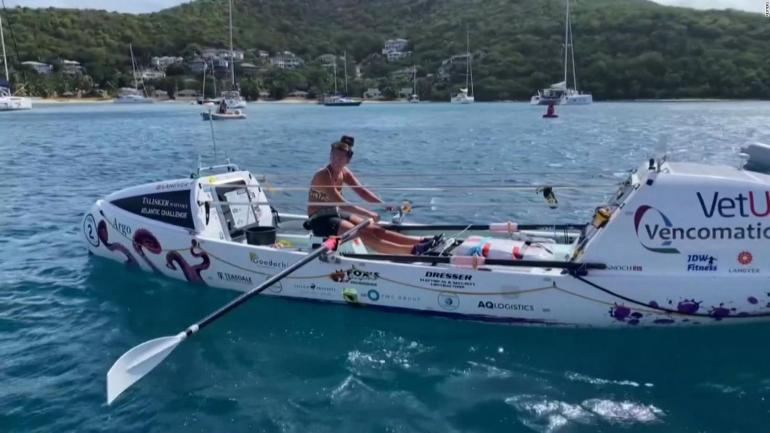She is 21 years old and crossed the Atlantic rowing alone