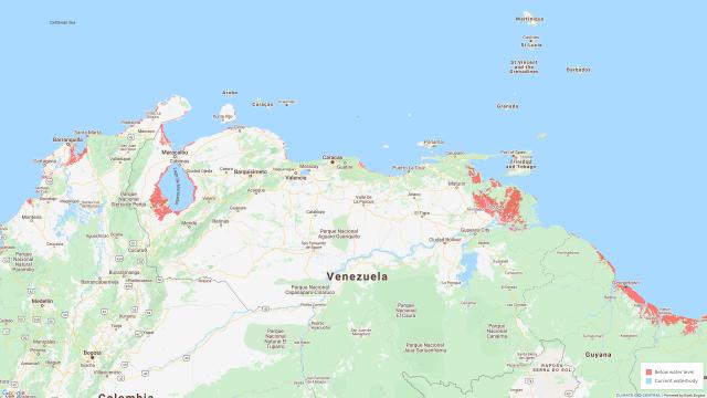 En rojo se indica el área que podría caer permanentemente por debajo de la línea de marea alta para 2100. Fuente: Climate Central.