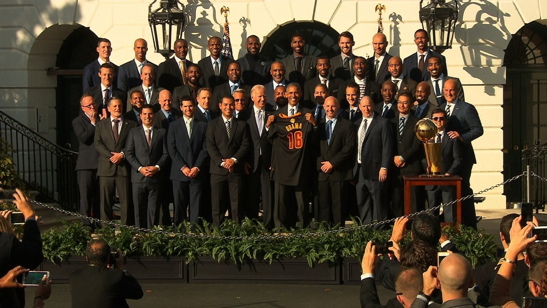 Image result for Obama welcomes Cleveland Cavaliers to White House